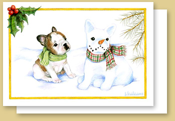 French bulldog holiday cards stranger in the snow m4hsunfo